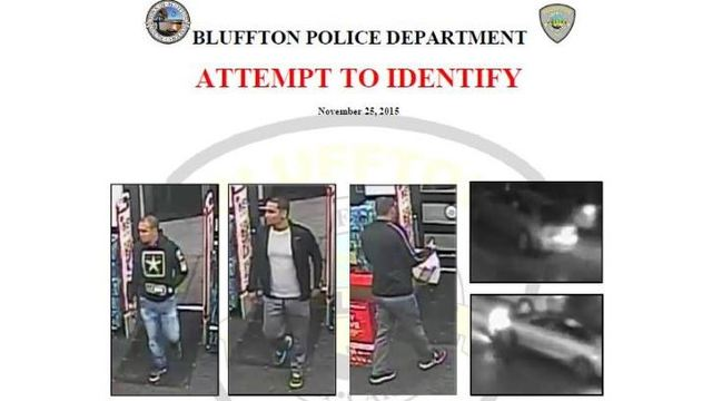 Attempting to identify individuals who made fraudulent purchases in Bluffton